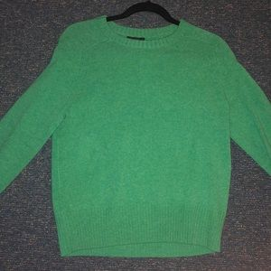 Long sleeved green wool sweater